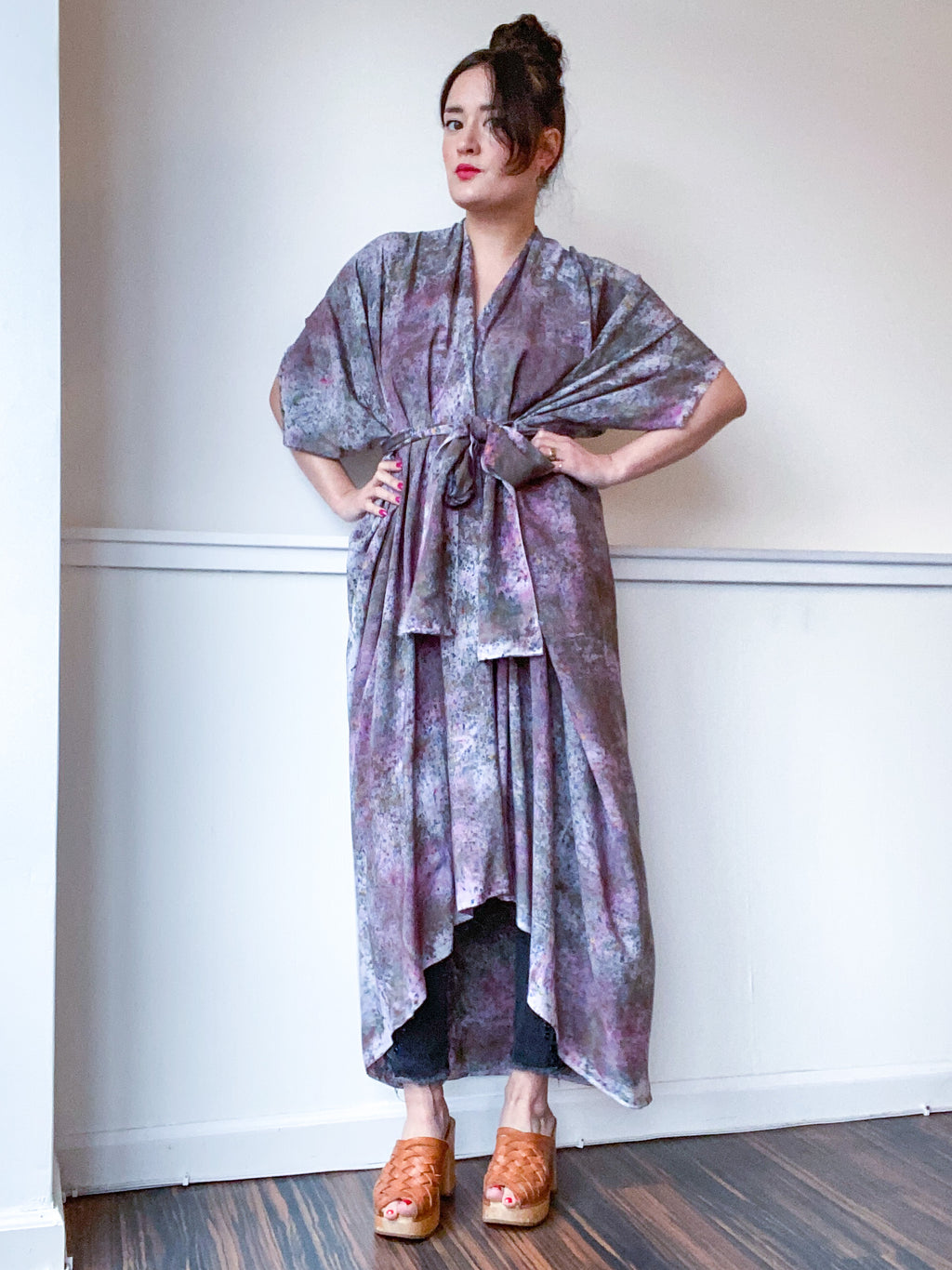 Hand-Dyed High Low Kimono Deconstructed Charcoal Grey