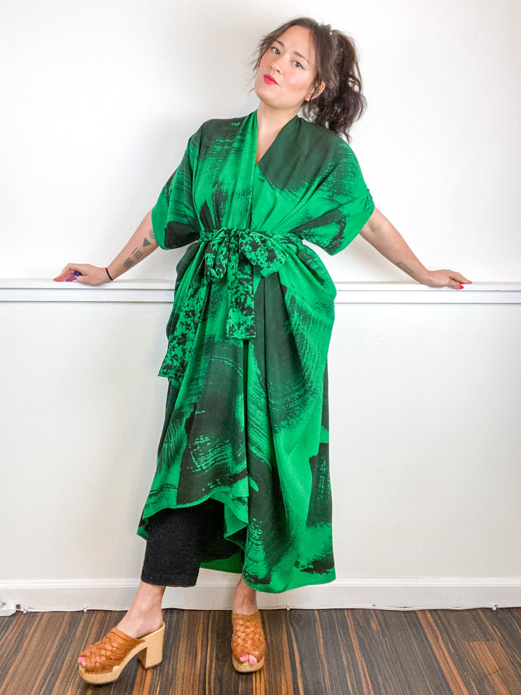 Hand-Dyed High Low Kimono Green Black Brushstroke