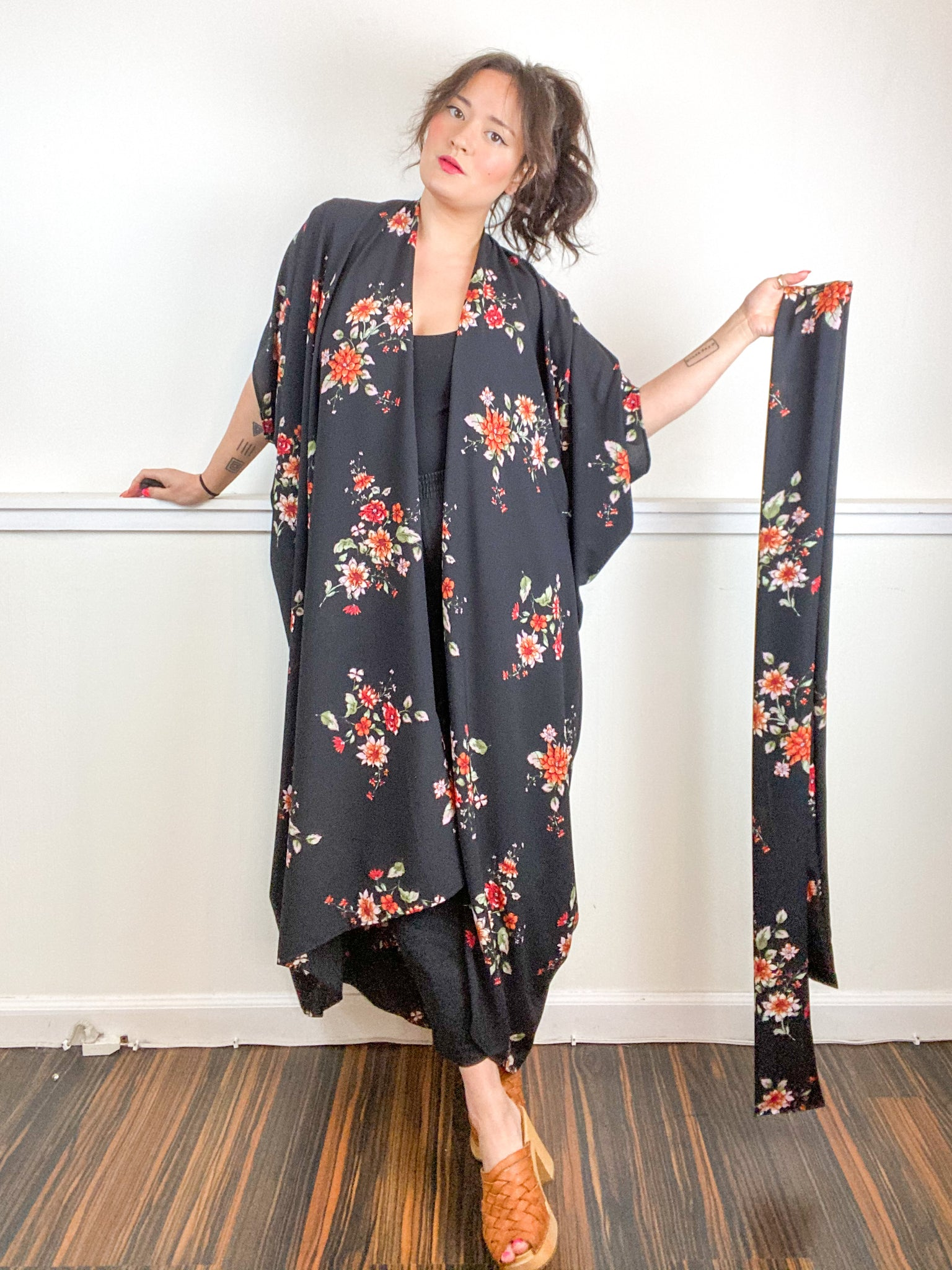 Print High Low Kimono Black Rose Bubble Crepe