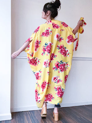 Print High Low Kimono Yellow Red Rose Floral