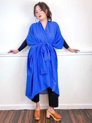 Print High Low Kimono Royal Blue Dots Rayon Challis