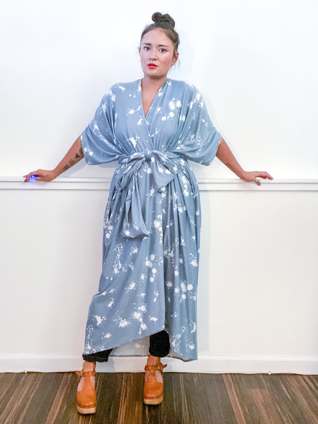 Print High Low Kimono Blue Grey Drops Knit