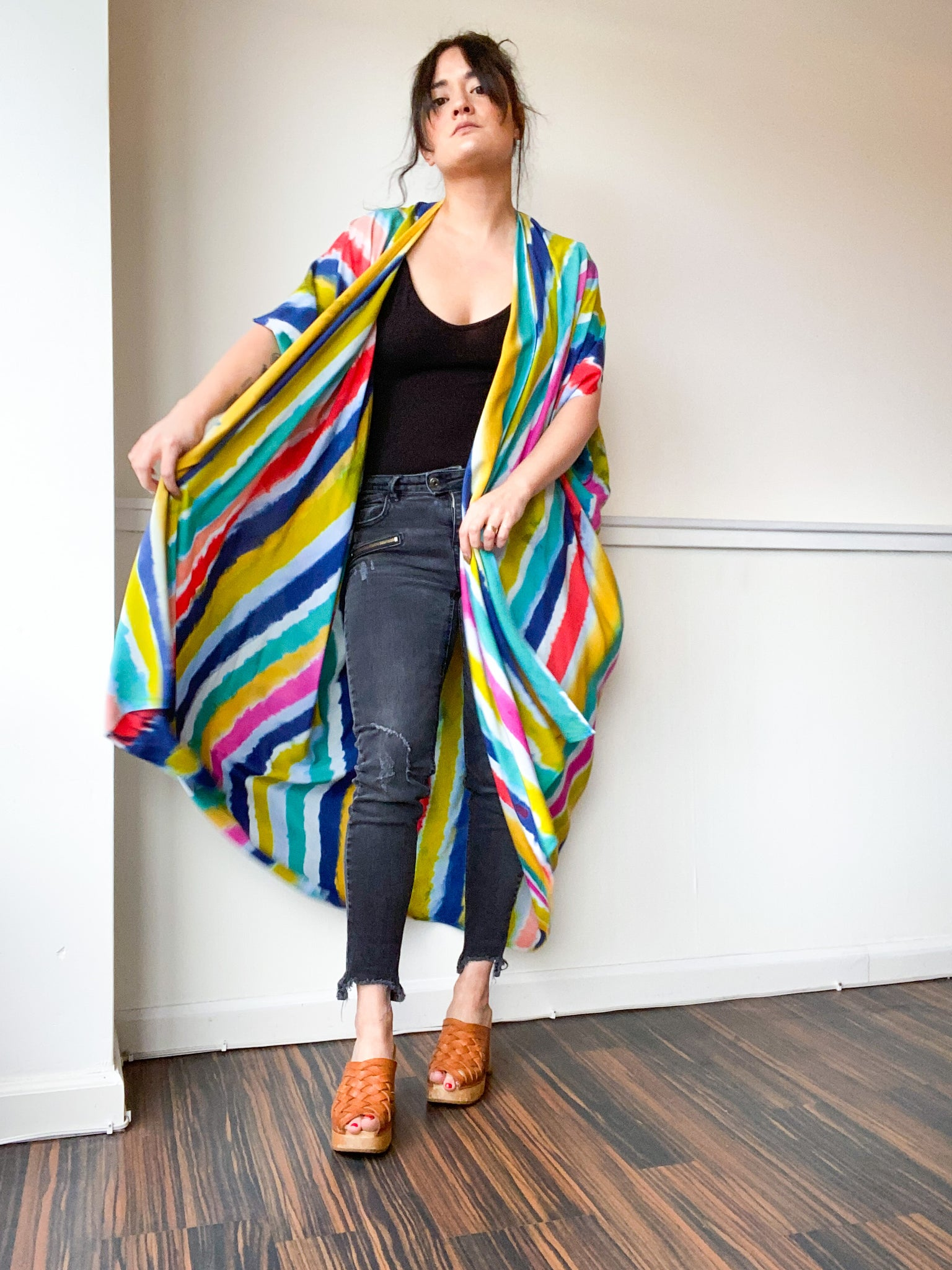 Limited Edition Hand-Dyed High Low Kimono Multicolor Stripes