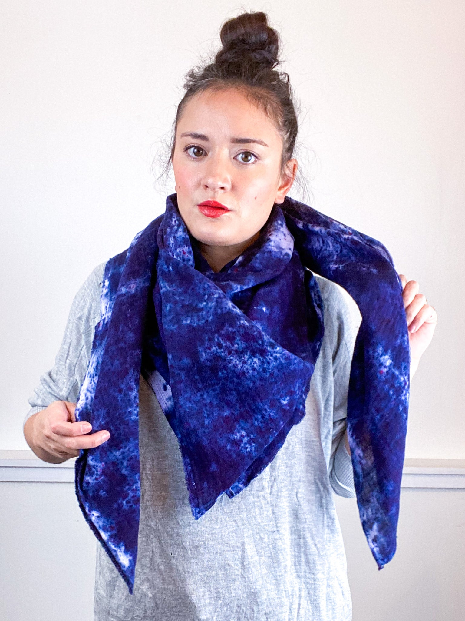 Hand-Dyed Large Square Scarf Deconstructed Blue