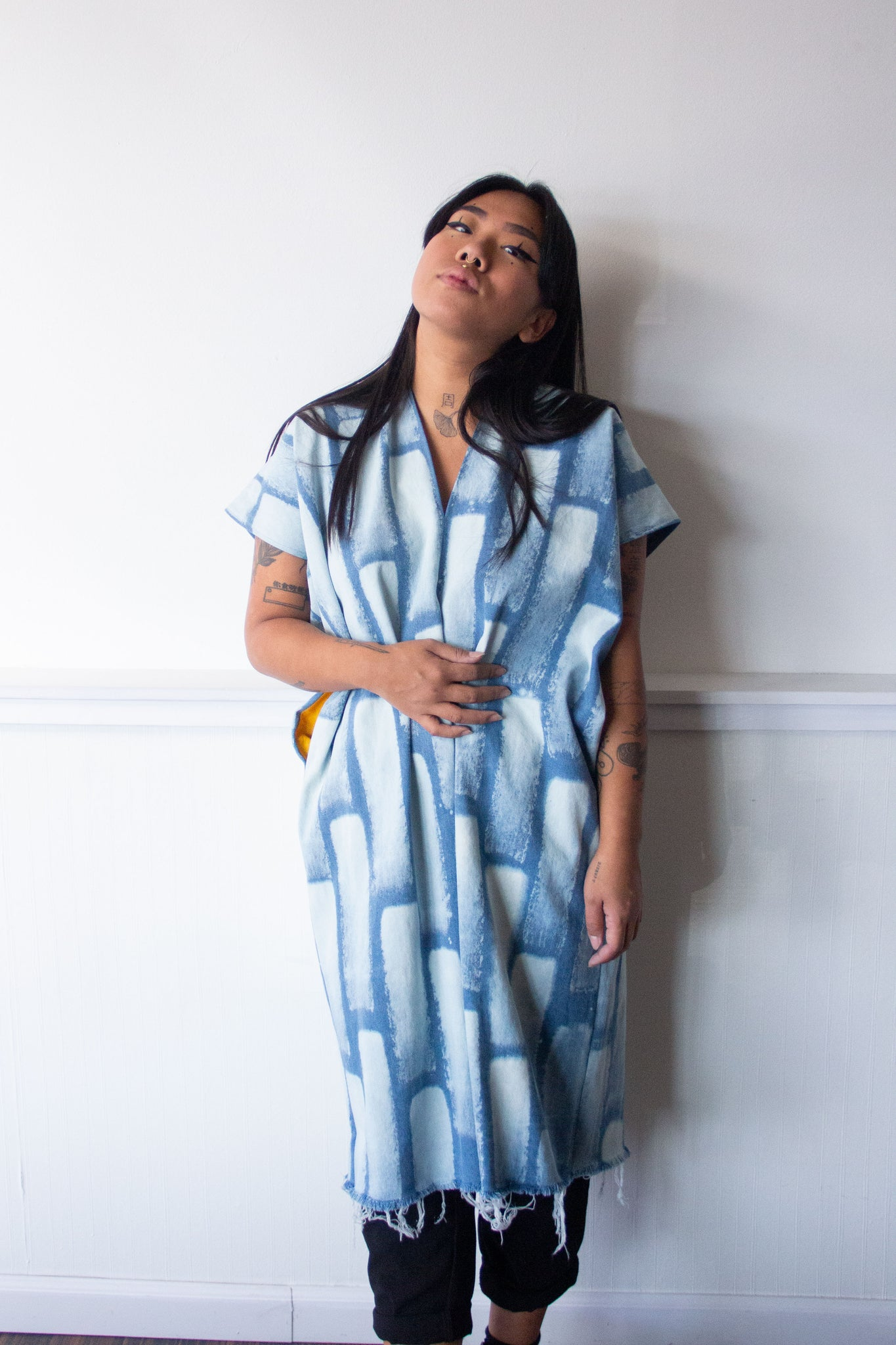 Denim Midi Smock Dress Bleach Bricks