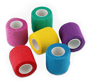 "WildCow Vet Wrap 2"" Bulk Tape Dog Bandages, 6 Color Pack Pet Leg Raps"
