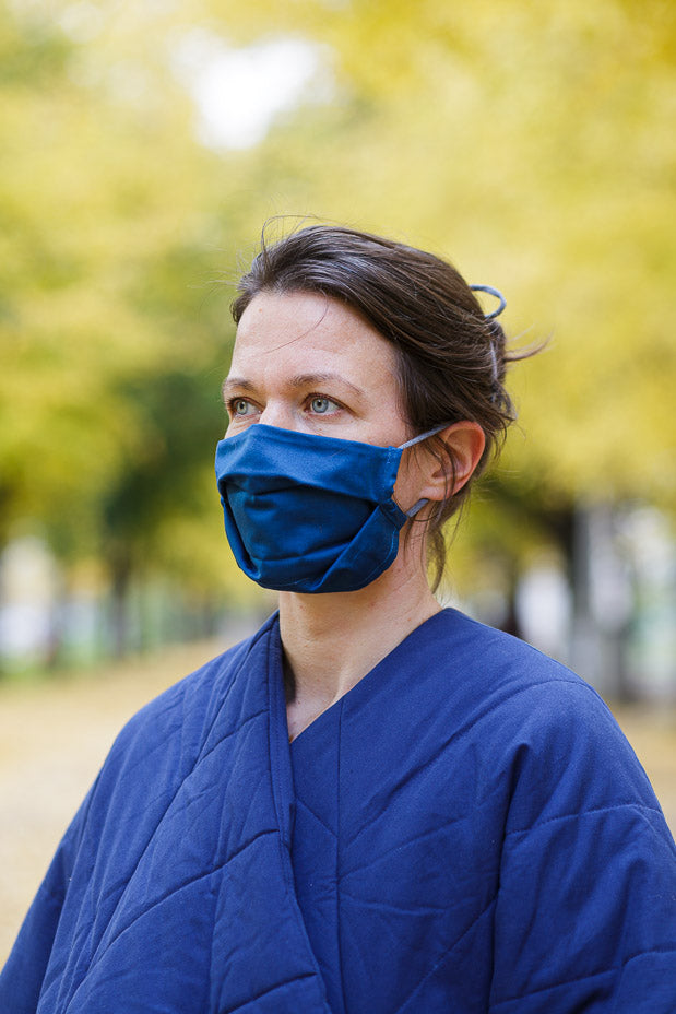 Wave face mask blue with a bag - Accessories - TAUKO - TAUKODESIGN