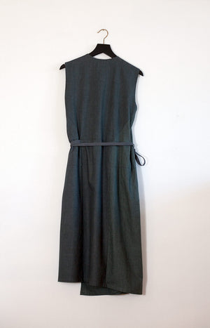 Kinship Dust wrap dress melange alpine green S - - TAUKO - TAUKODESIGN