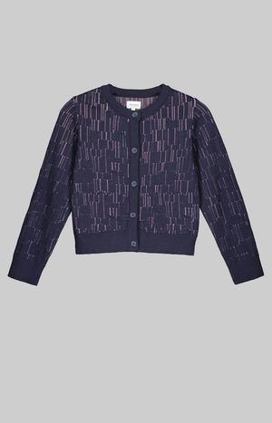 Horizon wool cardigan marine blue