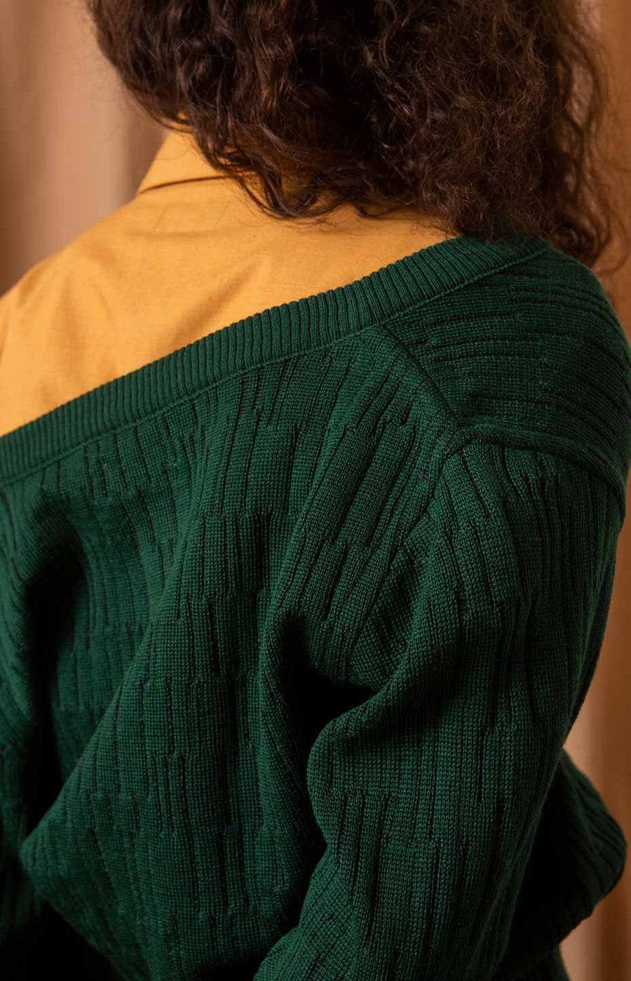 Horizon wool cardigan alpine green