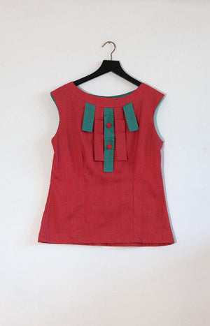 Kinship summer top coral red S/M