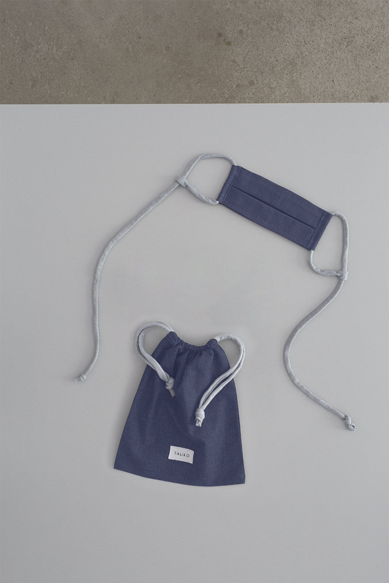 Wave face mask bluegrey with a bag