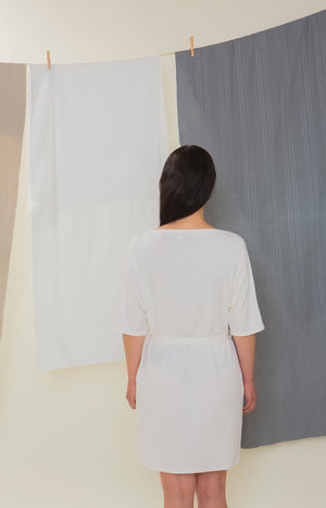 Sinisimpukka tunic dress broken white - Dresses - TAUKO - TAUKODESIGN