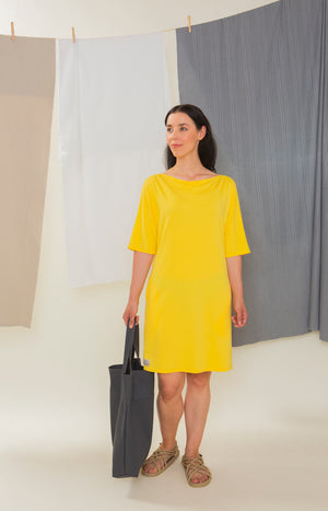 Sinisimpukka tunic dress sunshine yellow - Dresses - TAUKO - TAUKODESIGN