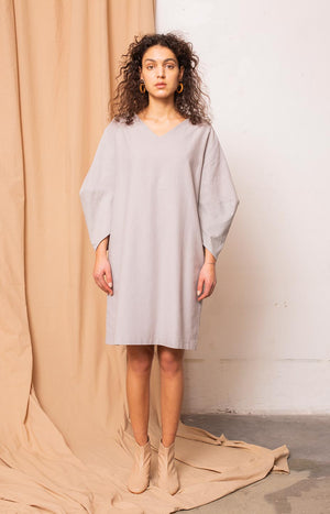 Stone dress drizzle grey