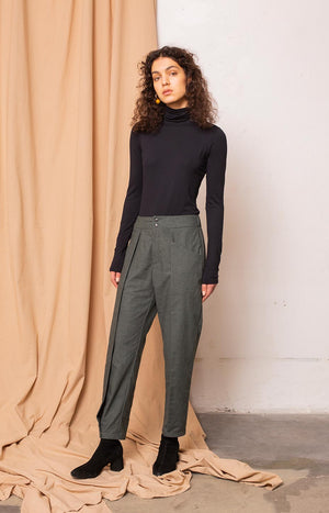Kinship Wish trousers melange alpine green S - - TAUKO - TAUKODESIGN