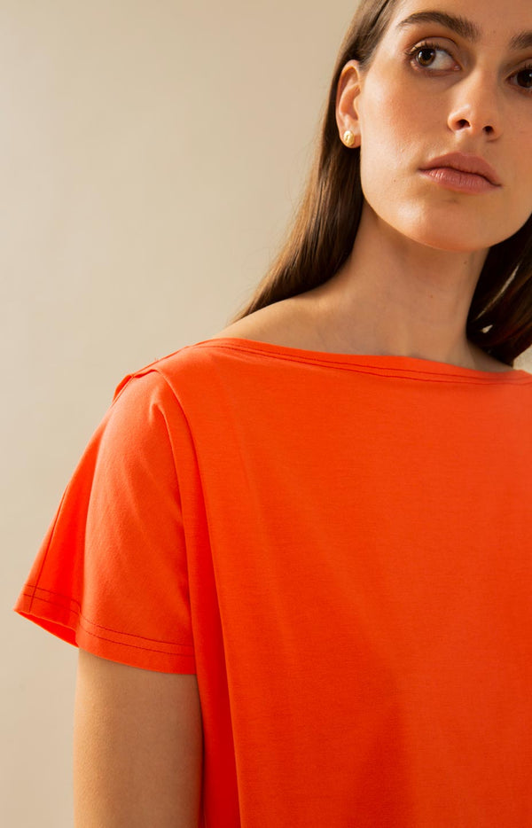 Crag shirt hot coral - Tops - TAUKO - TAUKODESIGN