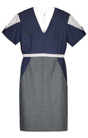 Geo dress marine blue