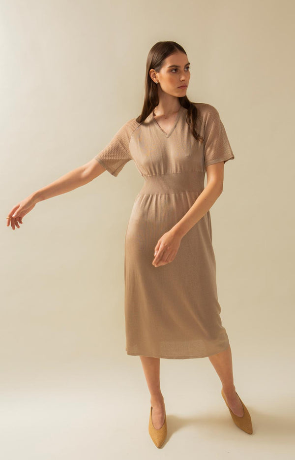 Hue dress drizzle beige - Dresses - TAUKO - TAUKODESIGN
