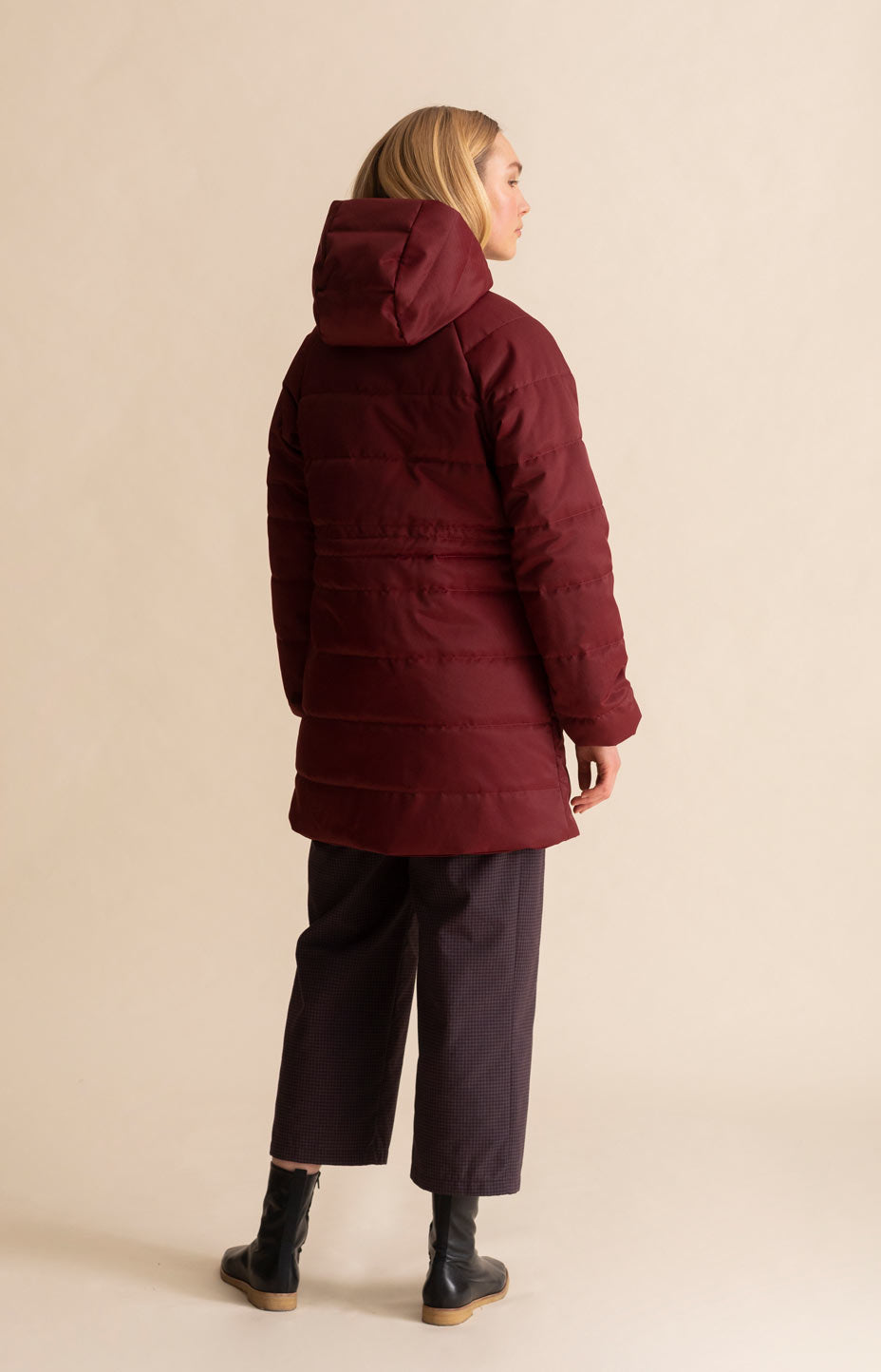 Hug coat cabernet red