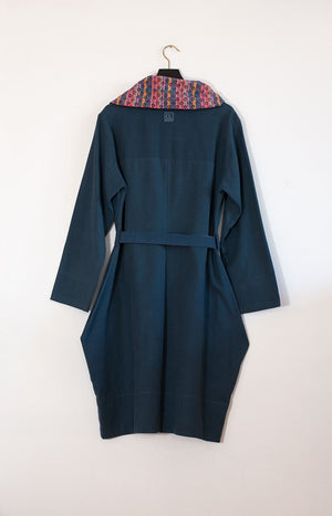 Kinship Radalla dress coat petrol blue L - - TAUKO - TAUKODESIGN