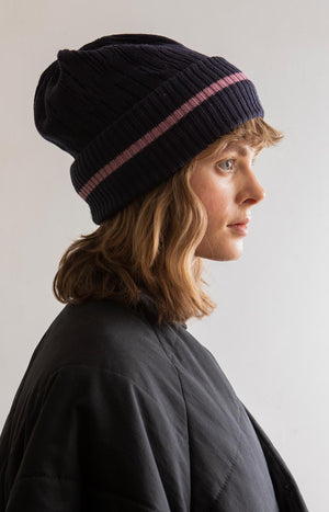 Line wool beanie marine blue - Accessories - TAUKO - TAUKODESIGN