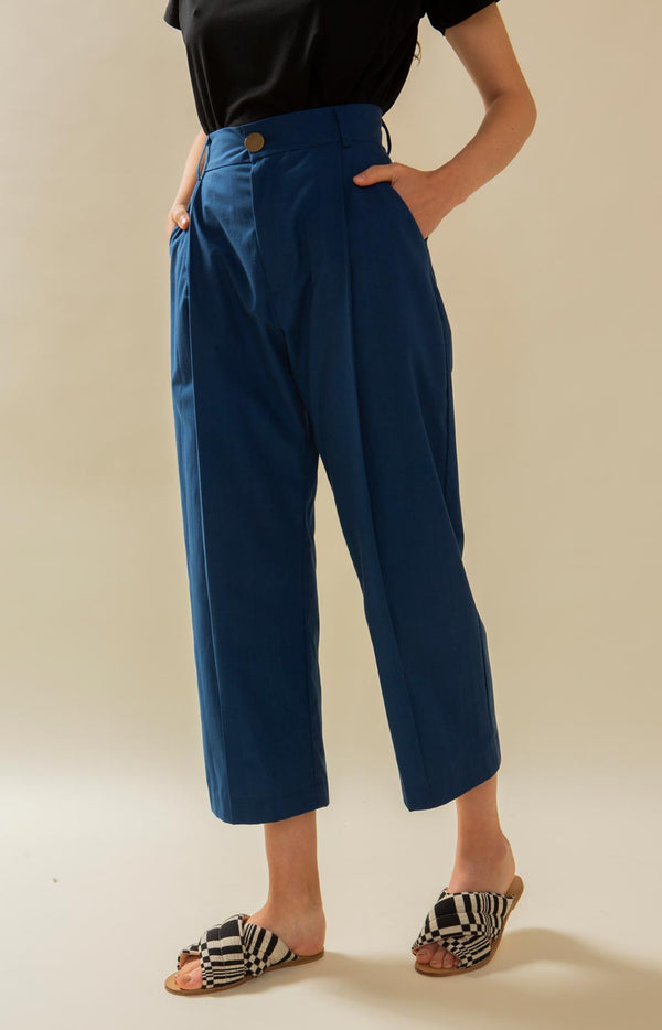 Mya slacks dark blue - Bottoms - TAUKO - TAUKODESIGN