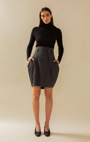 Radalla Tulip Skirt Grey - Bottoms - TAUKO - TAUKODESIGN