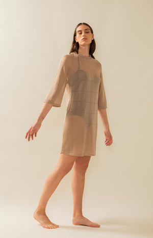Tile dress drizzle beige