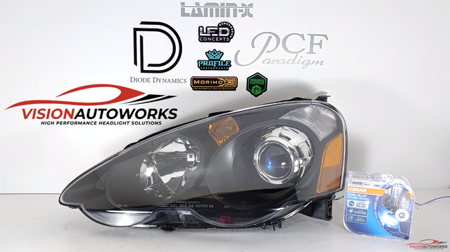 Acura RSX (02-04) Headlight Package, Mini D2S 5.0, LED halo backlighting, Osram CBI