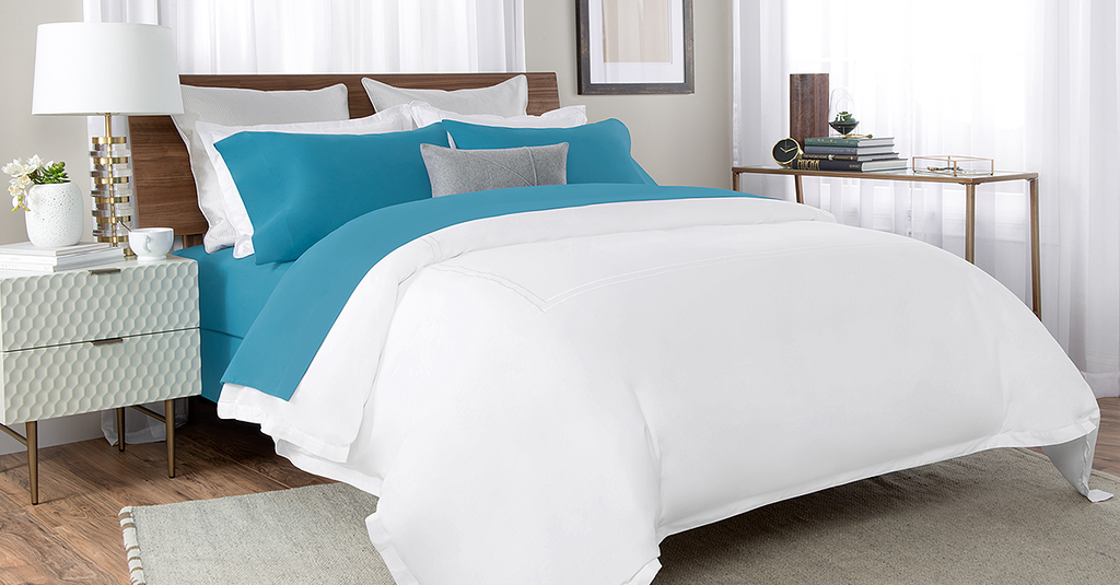 Percale Bed Sheet In Blue Color