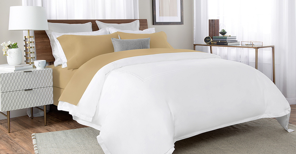 Percale Bed Sheet In Tan Color