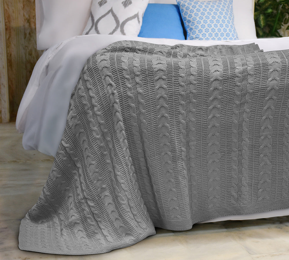 Cable Knit Blanket Queen.Cable Knit Acrylic Blanket Queen Grey 100 Soft Premium Acrylic Thermal Throw Blanket Eco Friendly