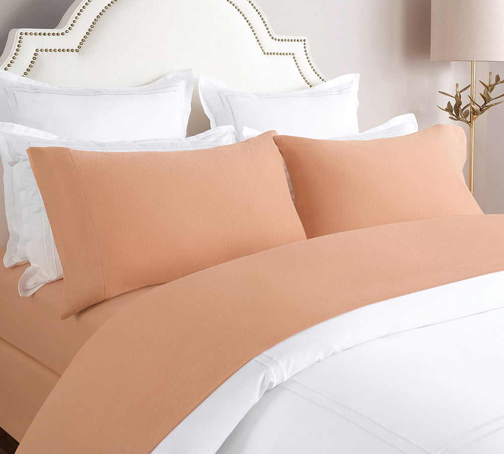 Solid Flannel Sheet Set In Taupe 150 Gsm Super Warm 100 Turkish Lelaan