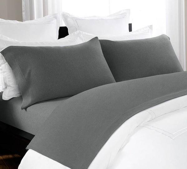heathered jersey sheet set in blue color twin full queen cal king lelaan. Black Bedroom Furniture Sets. Home Design Ideas