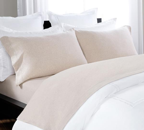 Exceptional Comfy, Organic Cotton Melange Sheet, Gorgeously Woven, T Shirt Soft Fitted  Heathered Jersey Sheet