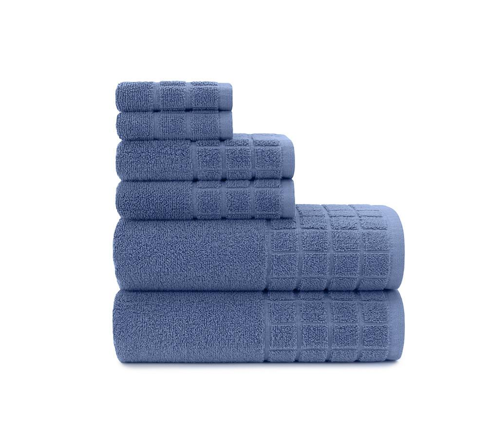 Dobby Check Double 6 Piece Towel Set in Blue Yonder   Best bath towel sets  online. Buy Bath Towels Online  Best Face Towels  Hand Towels   Bathroom