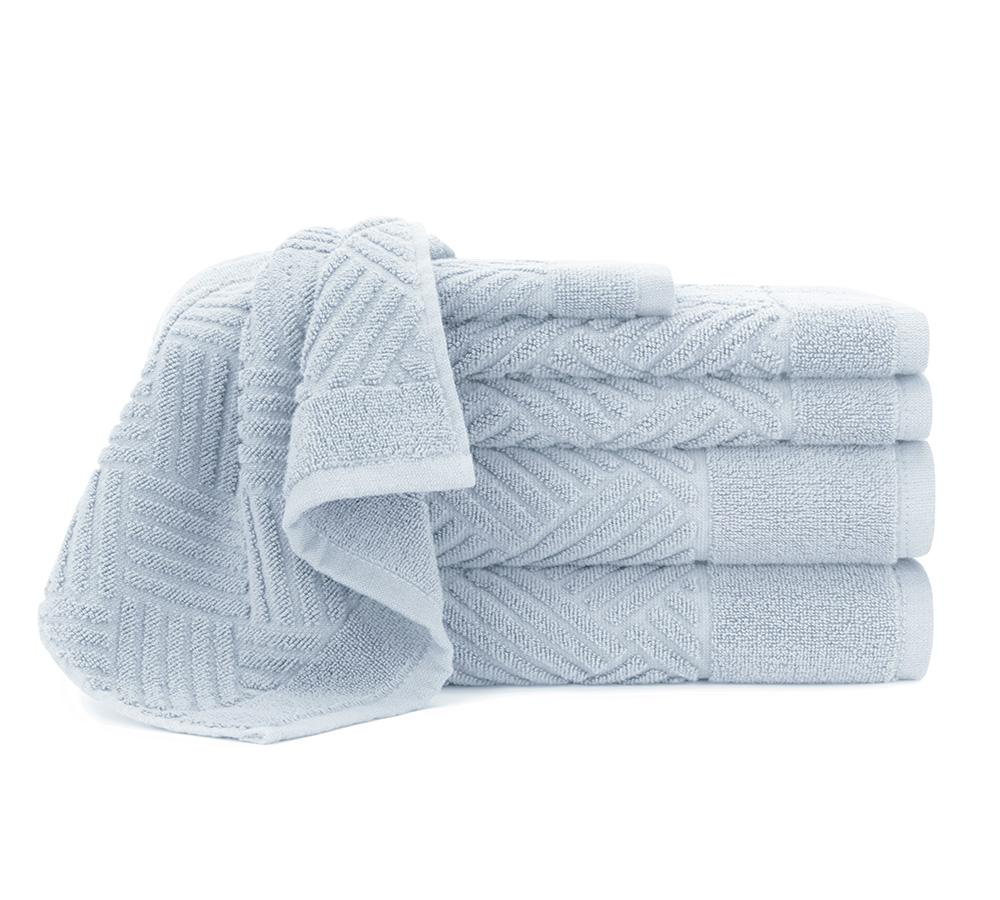Jacquard Bars 6 Piece Towel Set In Cashmere Blue   Online Hand Towels ,  Online Beach
