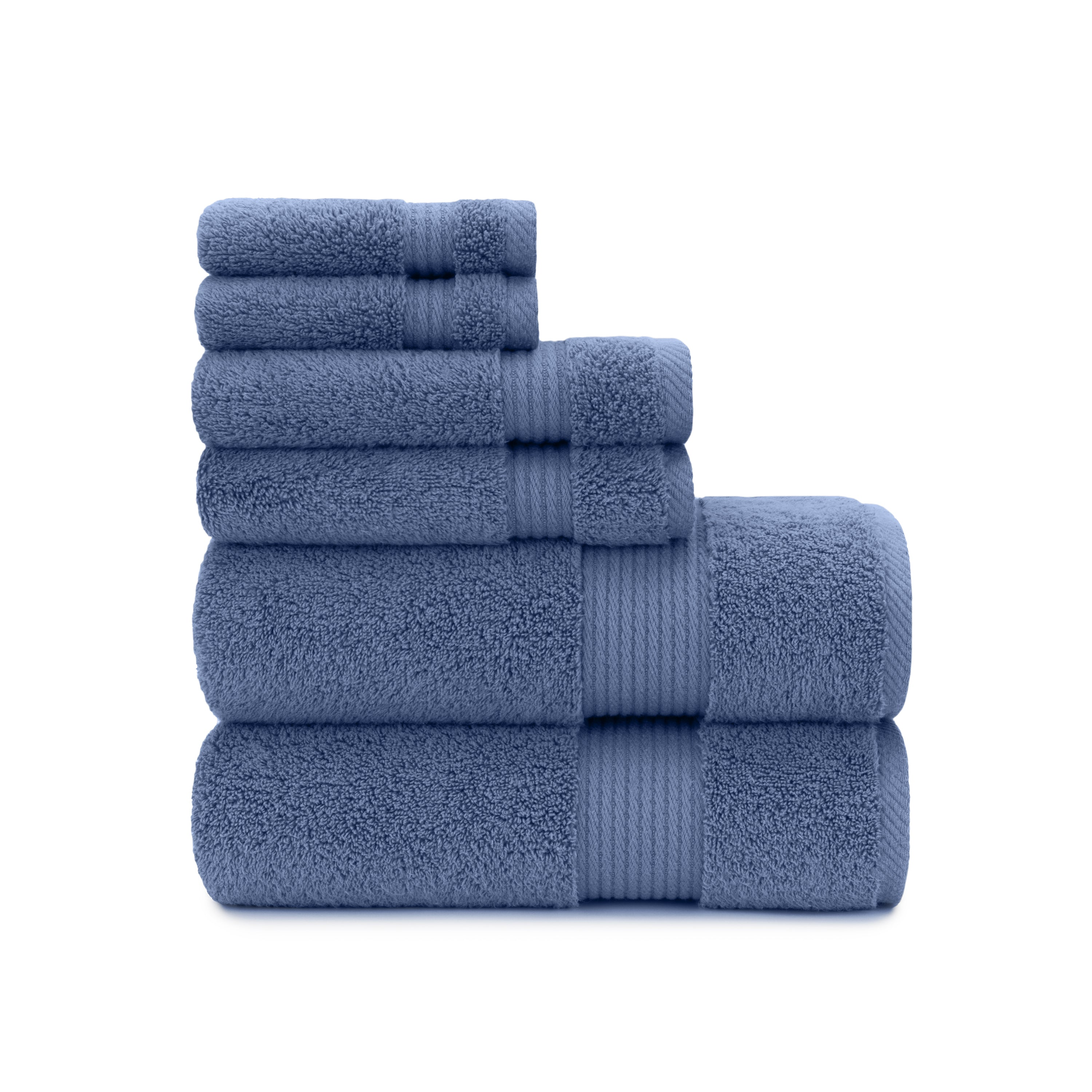 100% Cotton, Highly-Imbibing, Soft Hotel & Spa Towel Set in Blue ...
