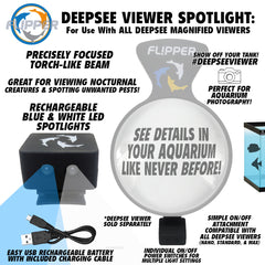 Flipper DeepSee Magnified Aquarium Viewer Rechargeable LED Spotlights