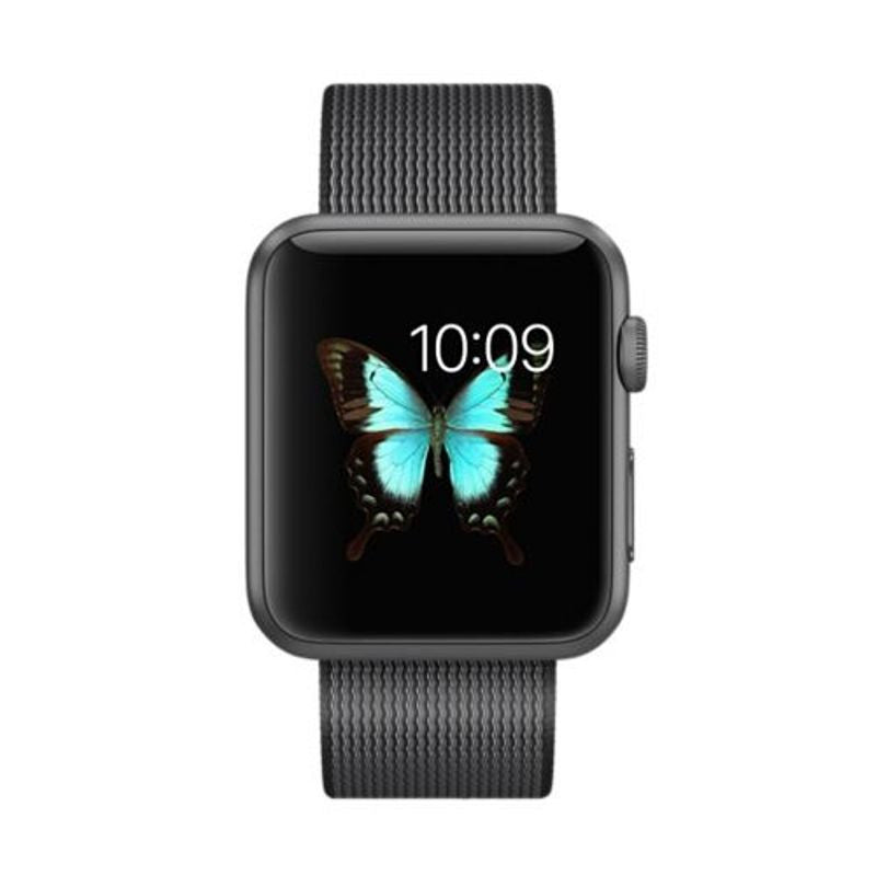 Apple Watch Sport 42mm Space Grey Aluminum Woven Nylon Band MMFR2 (Black)