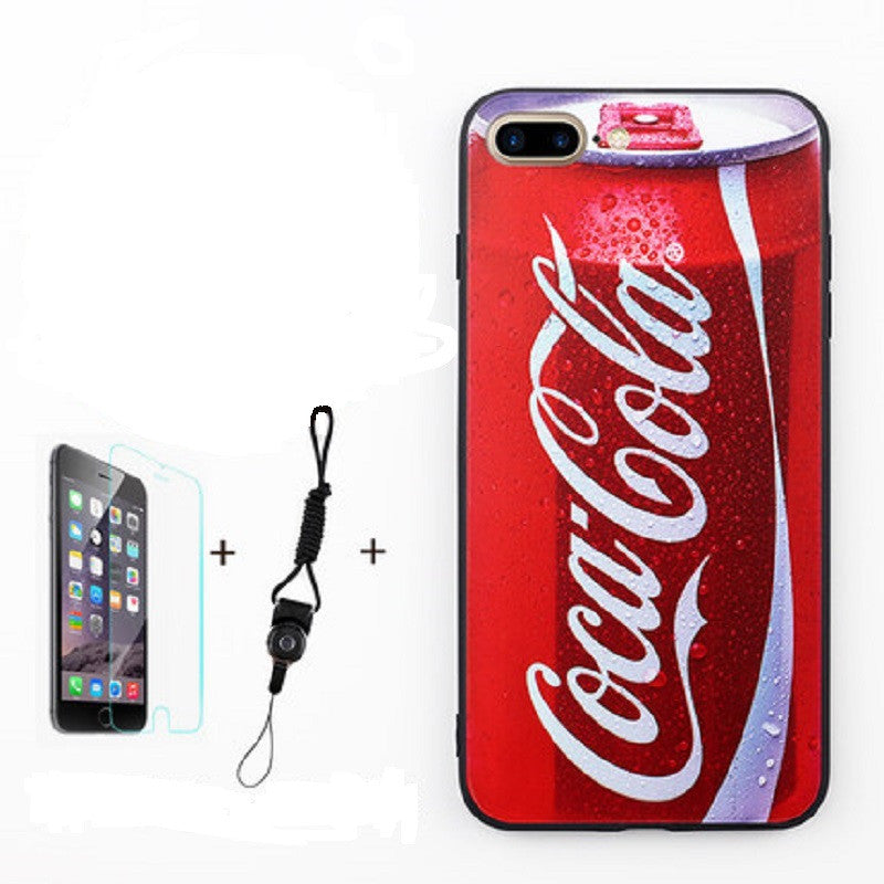 Soft Silicone Phone Shell with Film and Lanyard for iPhone 7 Plus (Coke)