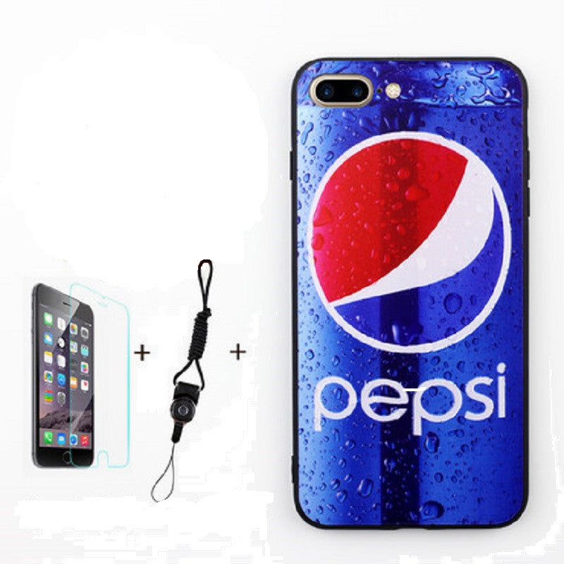 Soft Silicone Phone Shell with Film and Lanyard for iPhone 7 Plus (Pepsi)