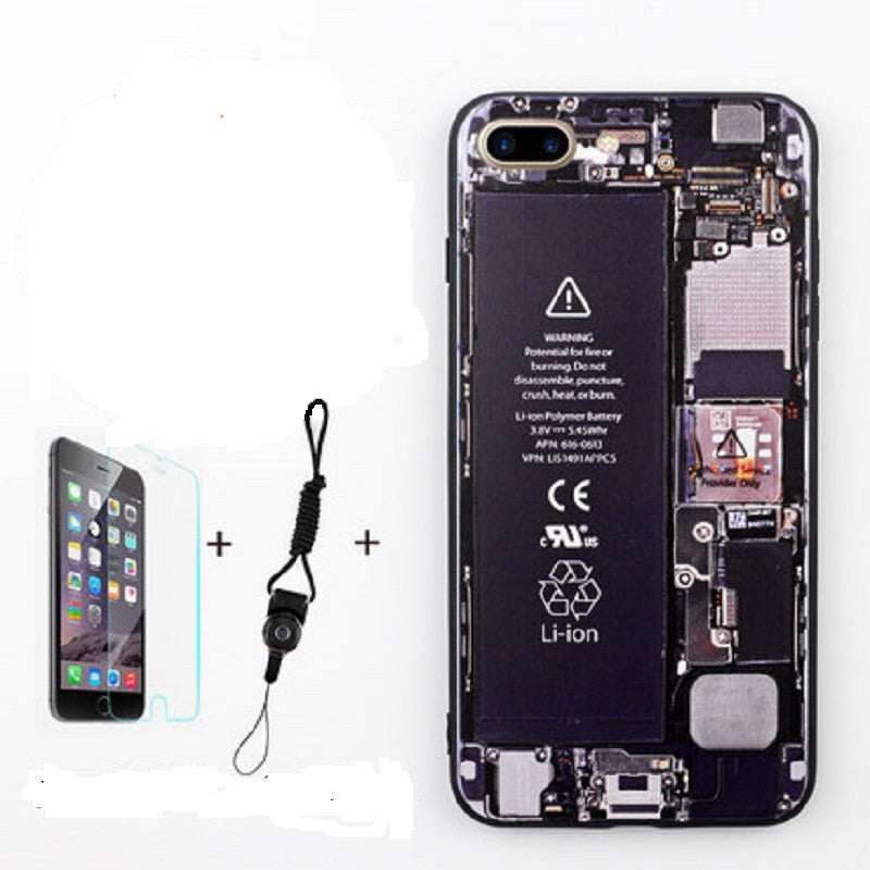 Soft Silicone Phone Shell with Film and Lanyard for iPhone 7 Plus (Camouflage Disassemble)