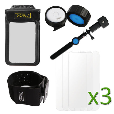 Waterproof Essential Bundle Pack (WP-565 Case, DP-1S Selfie Stick with Remote, DP-1R Remote Mount, DP-1A Arm Band, 3pcs. Screen Protector)