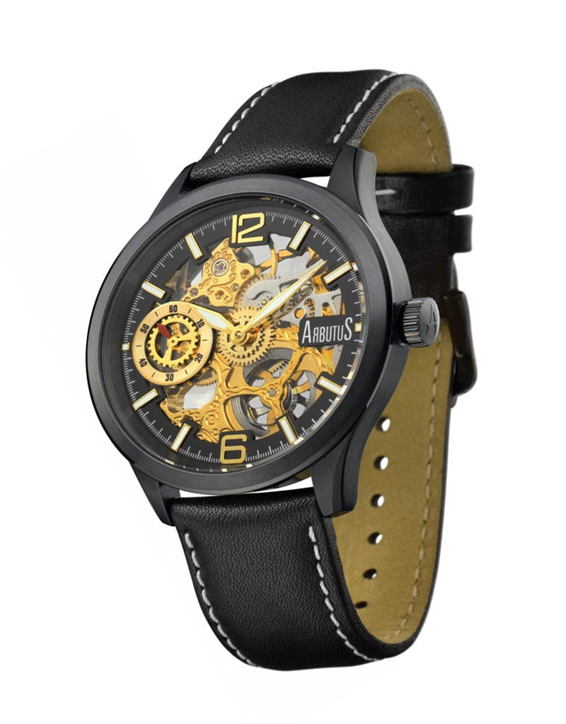 Arbutus Skeleton Mechanical AR501BBB Watch (New with Tags)