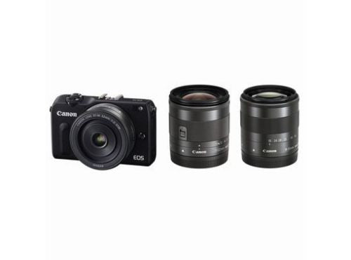 Canon EOS M2 with 22mm, 11-22mm, 18-55mm, 90EX Flash and EF Adapter Black Digital SLR Camera