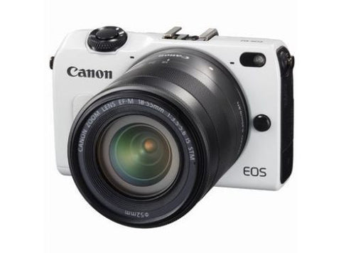 Canon EOS M2 with 22mm, 11-22mm, 18-55mm, 90EX Flash and EF Adapter White Digital SLR Camera