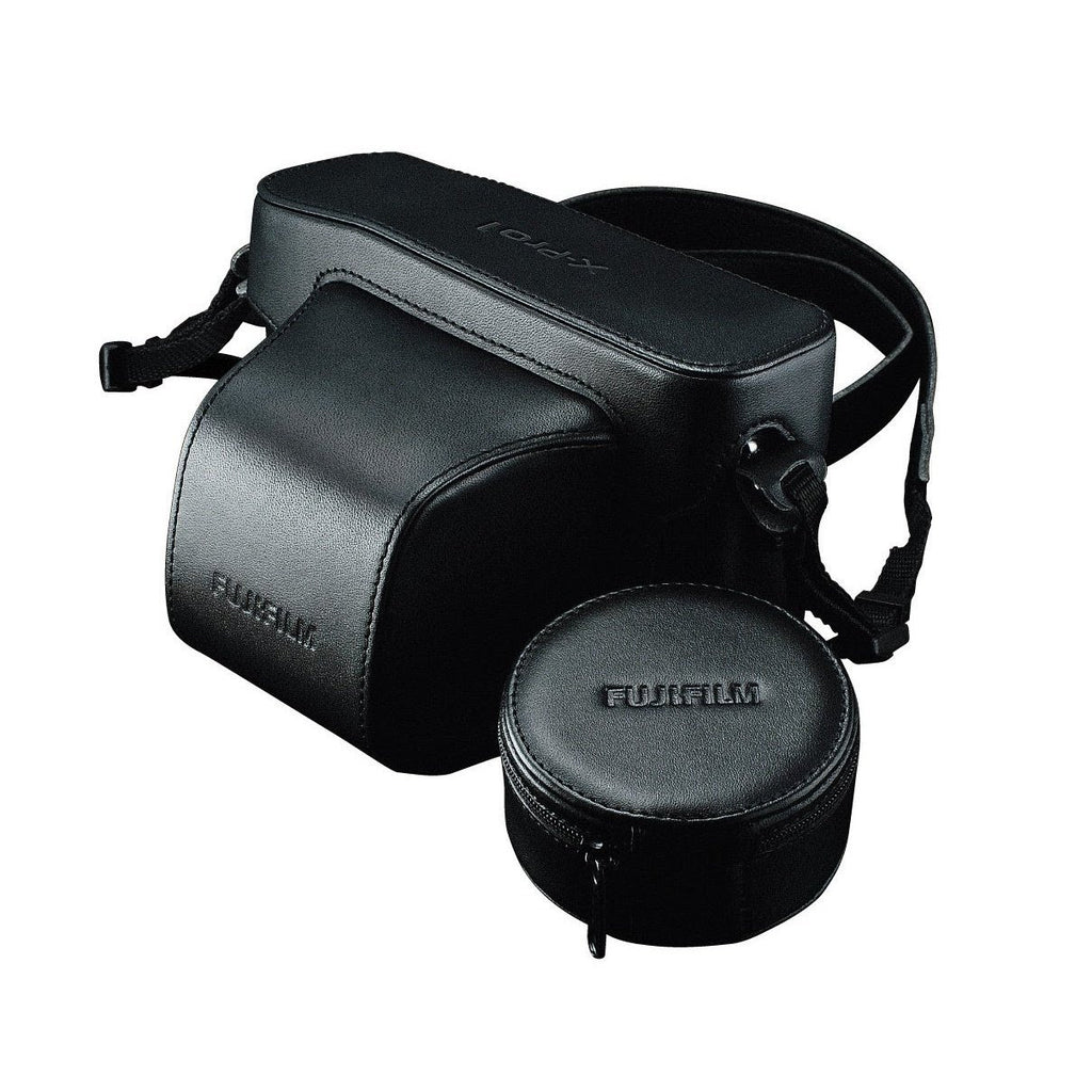 Fujifilm LC-XPro1 Leather Case with Shoulder Strap and Lens Hood Pouch for Finepix X-Pro1 Camera (Black)