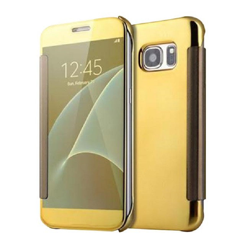 Smart Cover Phone Shell with Clip for Samsung S7 (Light Platinum Gold)